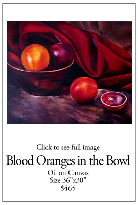 Blood Oranges in Bowl - Oil on Canvas