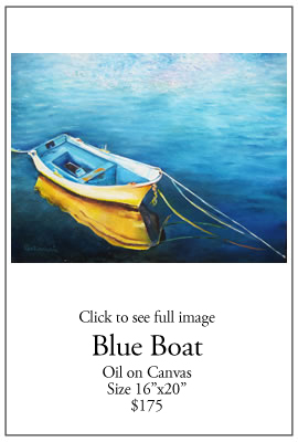 Blue Boat - Oil on Canvas
