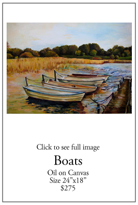 Boats - Oil on Canvas