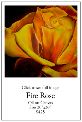 Fire Rose - Oil on Canvas