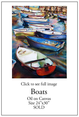 Many Boats - Oil on Canvas
