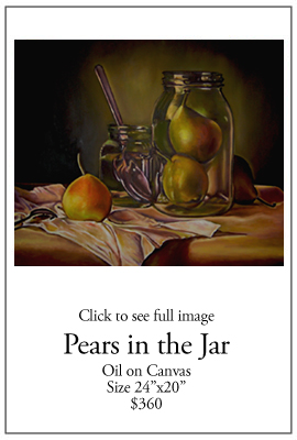 Pears in the Jar - Oil on Canvas