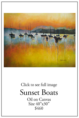 Sunset Boats - Oil on Canvas
