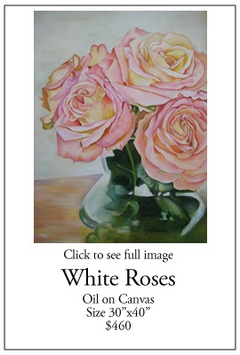 White Roses - Oil on Canvas